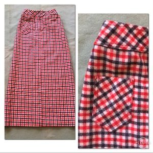 Vintage 60s 70s Villager wool plaid maxi skirt